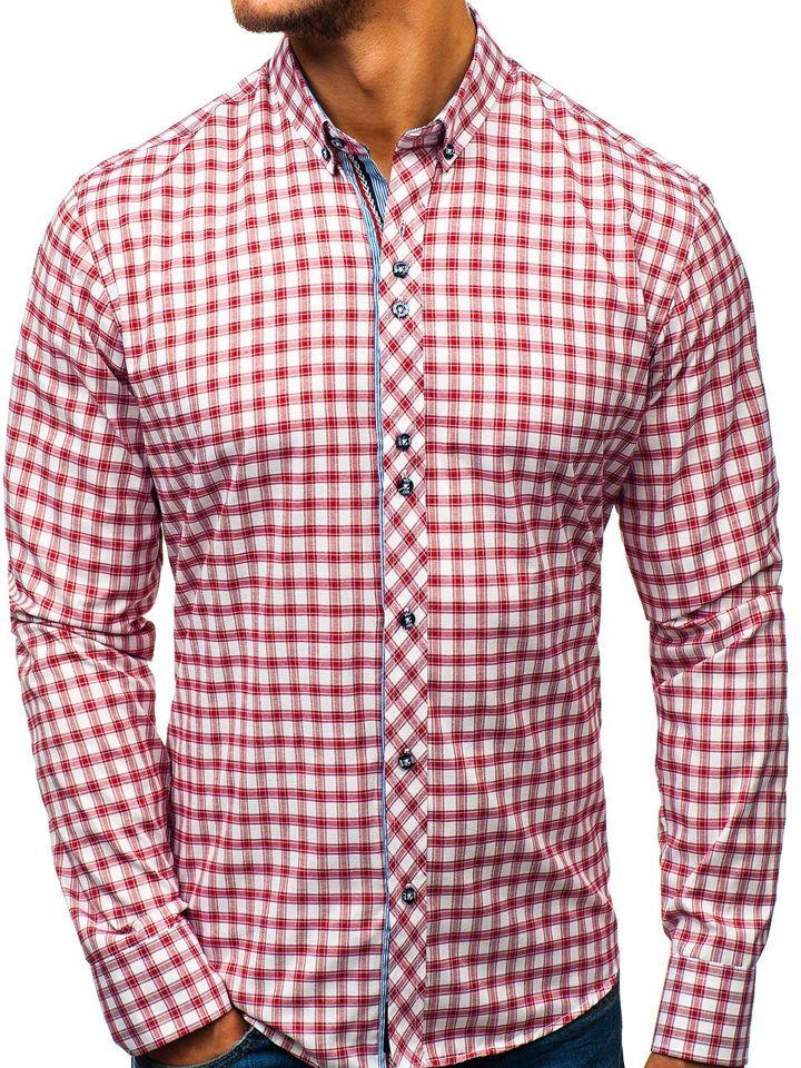 6f9ee8866ee3f La chemise à carreaux avec les manches longues pour homme blanche-rouge  Bolf 8833 BLANC/ROUGE