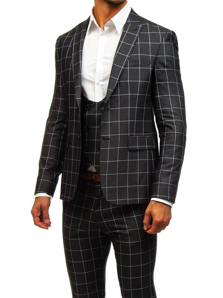 a7ee65543403e Le costume à carreaux avec un gilet pour homme noir Bolf 200K NOIR