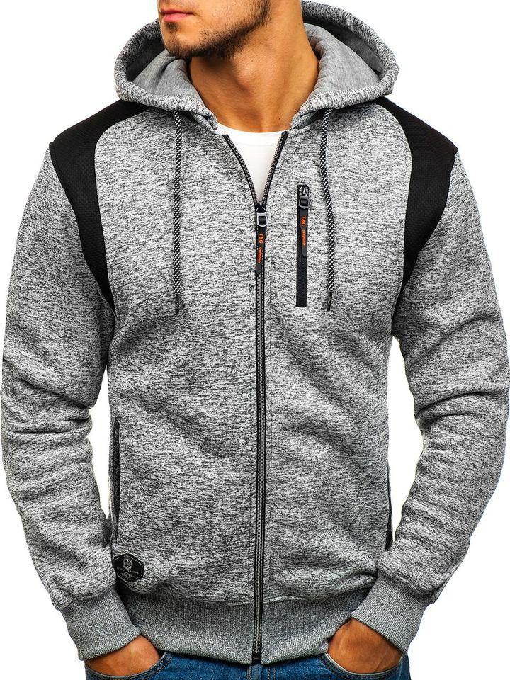 Le sweat shirt à capuche avec fermeture pour homme gris Bolf TC815