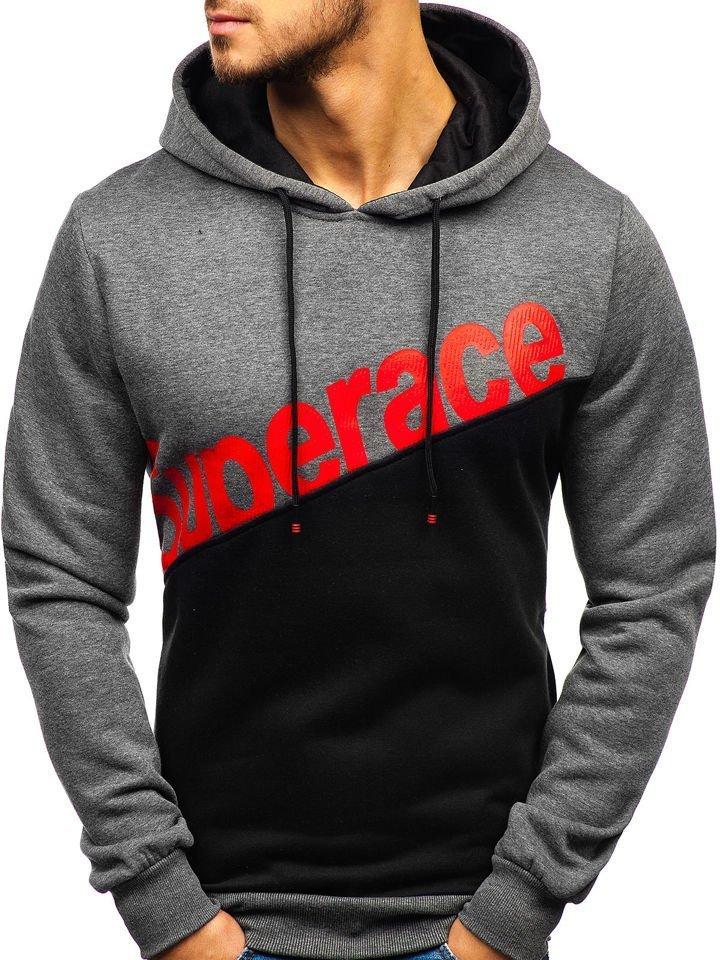 be7840247 Le sweat-shirt à capuche imprimé pour homme graphite Bolf KS1805