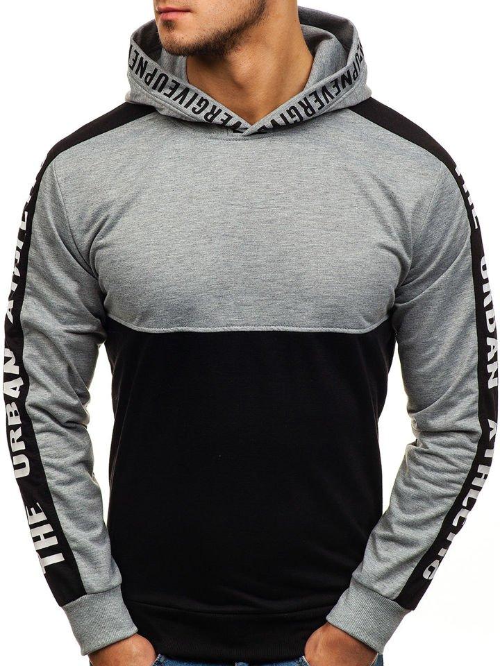 Le sweat shirt à capuche imprimé pour homme noir gris Bolf HY202