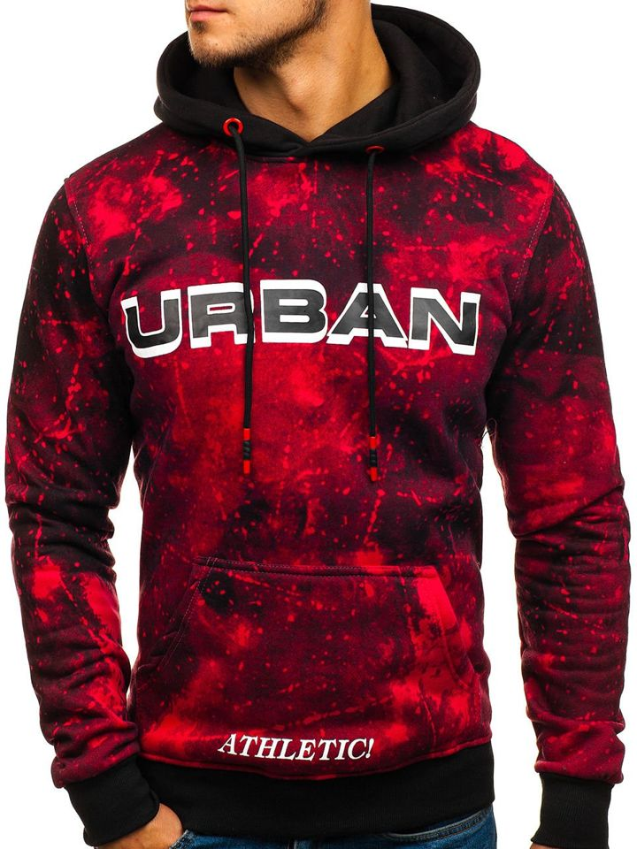 cd704f44882c Le sweat-shirt à capuche imprimé pour homme rouge Bolf DD266 ROUGE