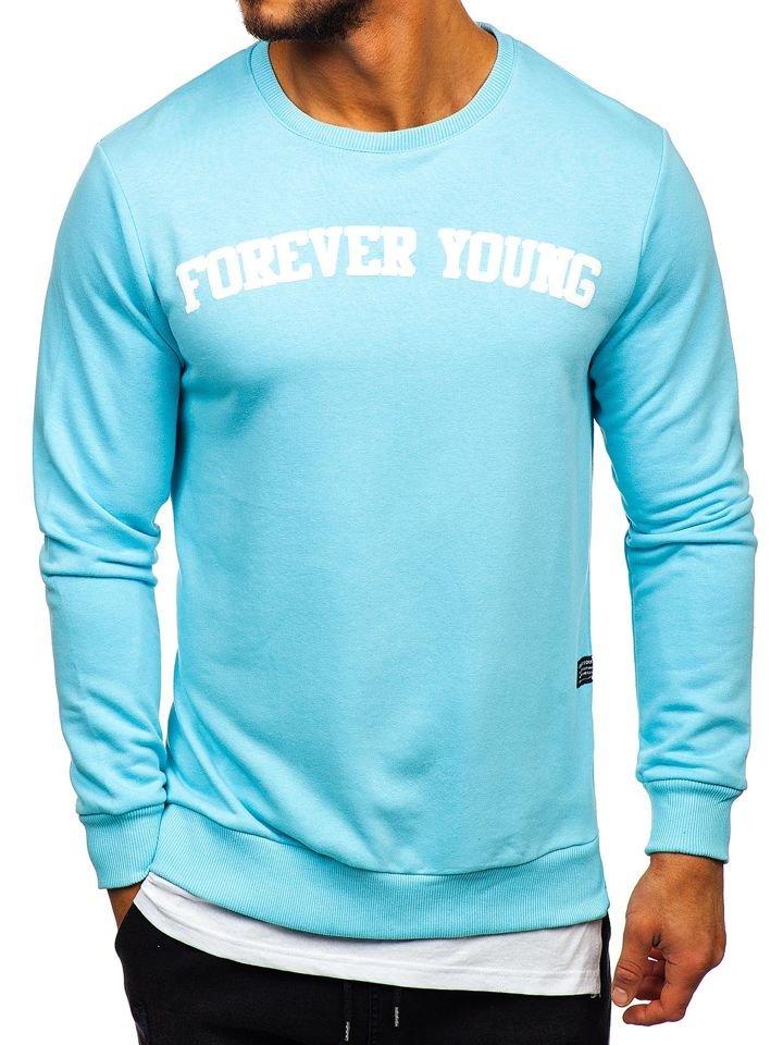 Le sweat shirt sans capuche imprimé pour homme bleu clair Bolf 11116