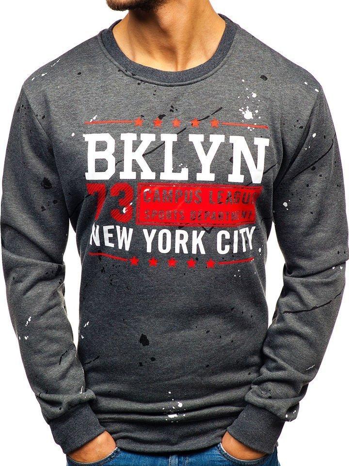 7c51c2f4c Le sweat-shirt sans capuche imprimé pour homme graphite Bolf 22025