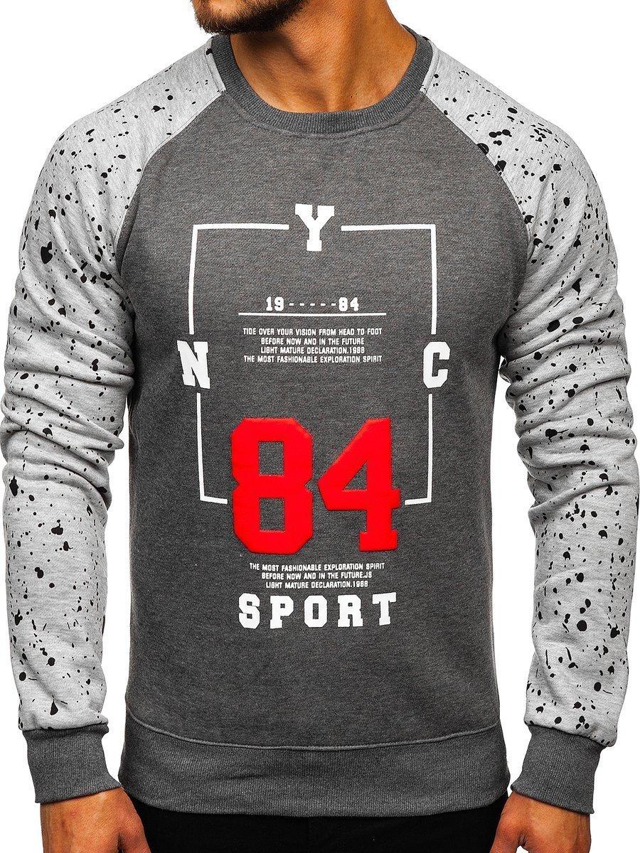 6348f6cb2 Le sweat-shirt sans capuche imprimé pour homme graphite Bolf DD07