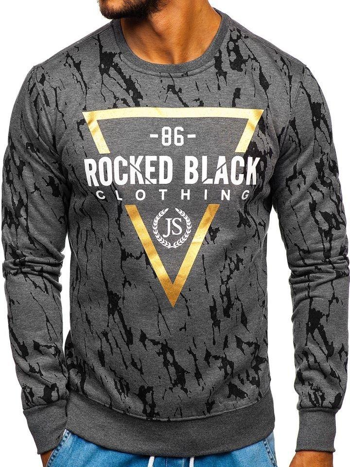 f96f67bd4 Le sweat-shirt sans capuche imprimé pour homme graphite Bolf DD15