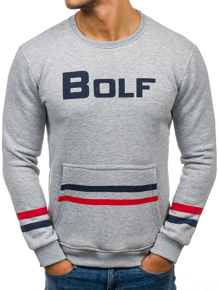 meilleur pas cher vraiment pas cher amazon Le sweat-shirt sans capuche imprimé pour homme gris Bolf 75