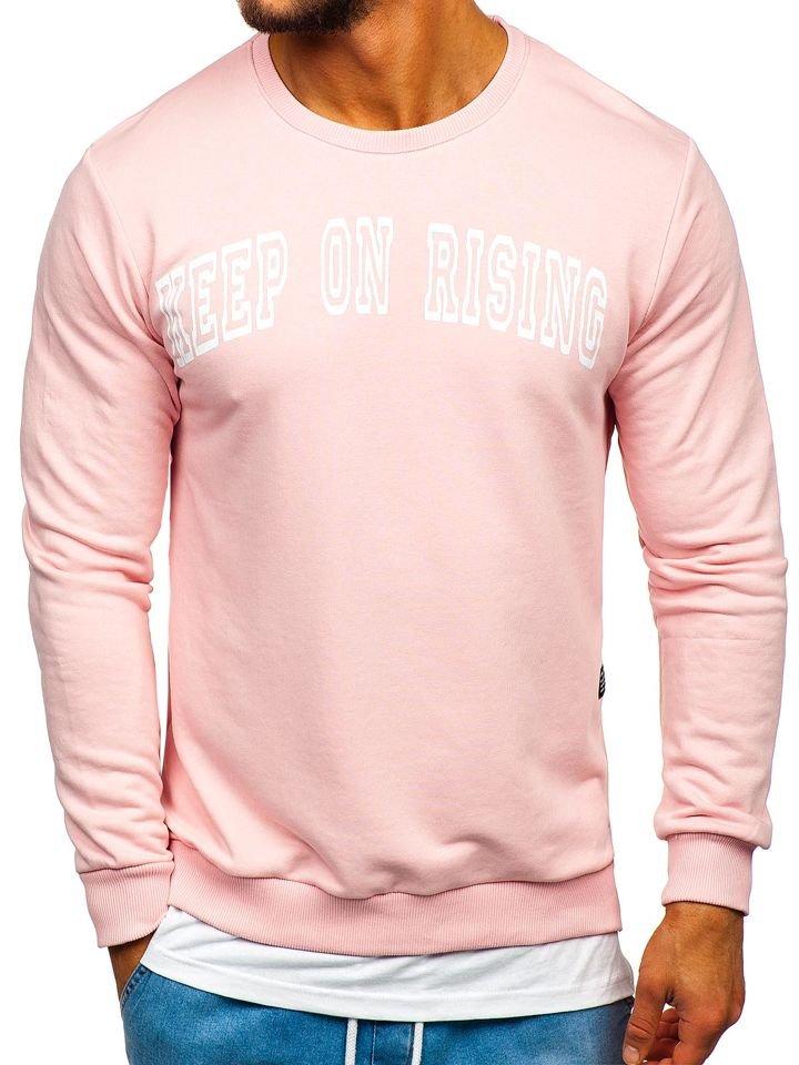 Le sweat shirt sans capuche imprimé pour homme rose Bolf 11114