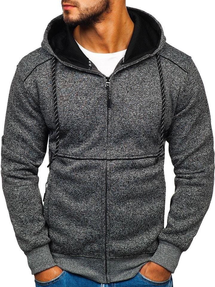 Le sweat-shirt à capuche pour homme graphite Bolf 3855