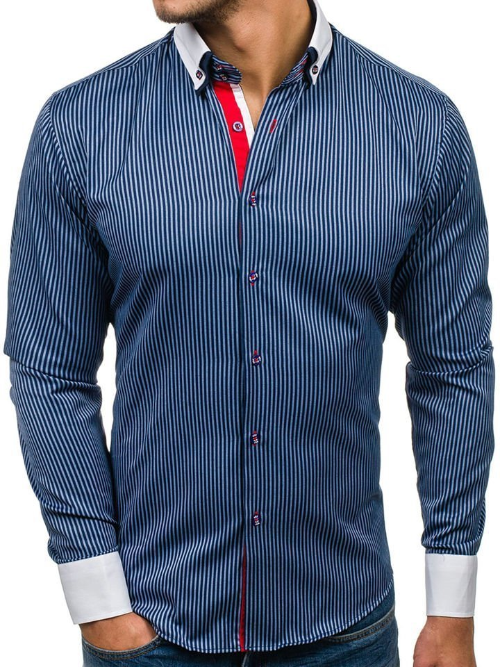 La chemise pour homme élégante avec manches longues bleue foncée Bolf 2790