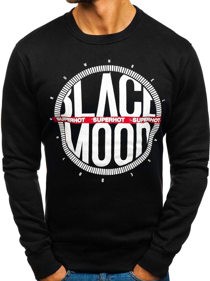 Le sweat-shirt sans capuche imprimé pour homme noir Bolf DD285