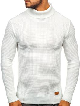 Le pull col montant pour homme blanc Bolf 9999