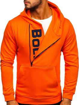 Le sweat-shirt à capuche imprimé pour homme orange Bolf 01