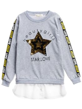Le sweat-shirt long pour fille gris Bolf WB2070