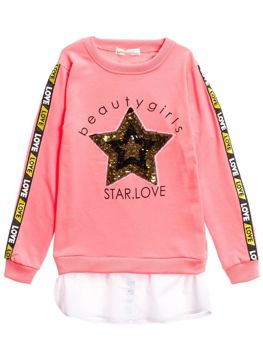 Le sweat-shirt long pour fille rose Bolf WB2070