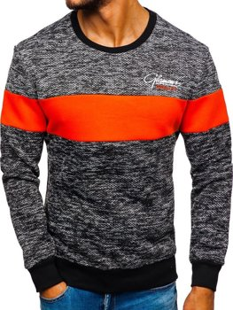 Le sweat-shirt sans capuche imprimé pour homme orange Bolf KS1895