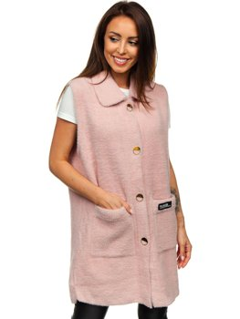 Pull cardigan pour femme sans manches rose Bolf 20655