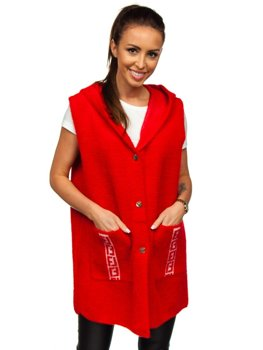 Pull cardigan pour femme sans manches rouge Bolf 20656