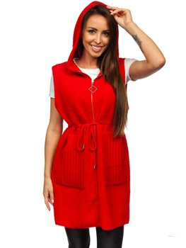 Pull cardigan pour femme sans manches rouge Bolf 703