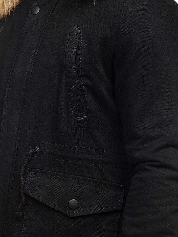 La parka d'hiver pour homme noire Bolf JK392