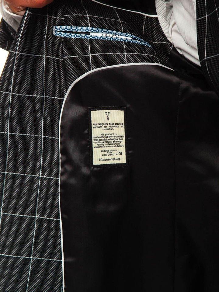 paquet à la mode et attrayant meilleur site web dernier Le costume à carreaux avec un gilet pour homme noir Bolf 200K