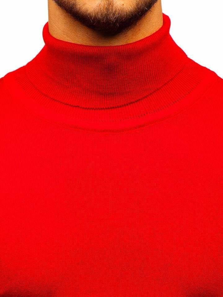 Le pull à col roulé pour homme rouge Bolf 2400