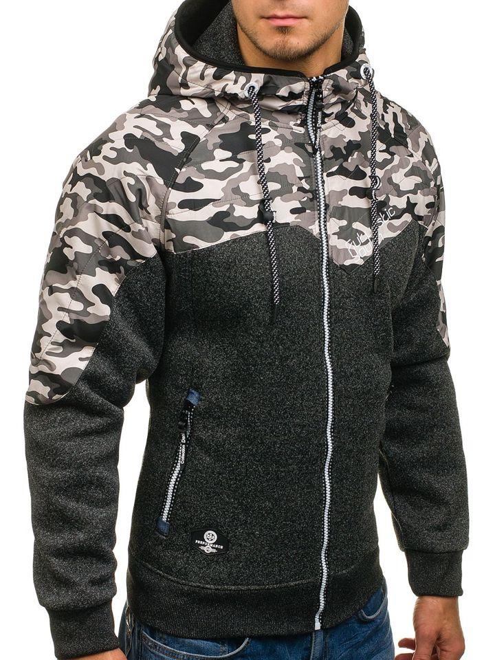 Le sweatshirt pour homme à capuche avec fermeture camo noir Bolf HH502