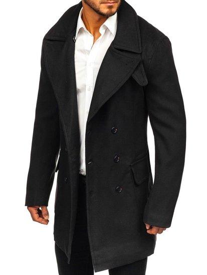Manteau à double rangée d'hiver pour homme noir avec un col