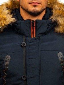 Le blouson d'hiver parka pour homme bleu foncé Bolf 5312